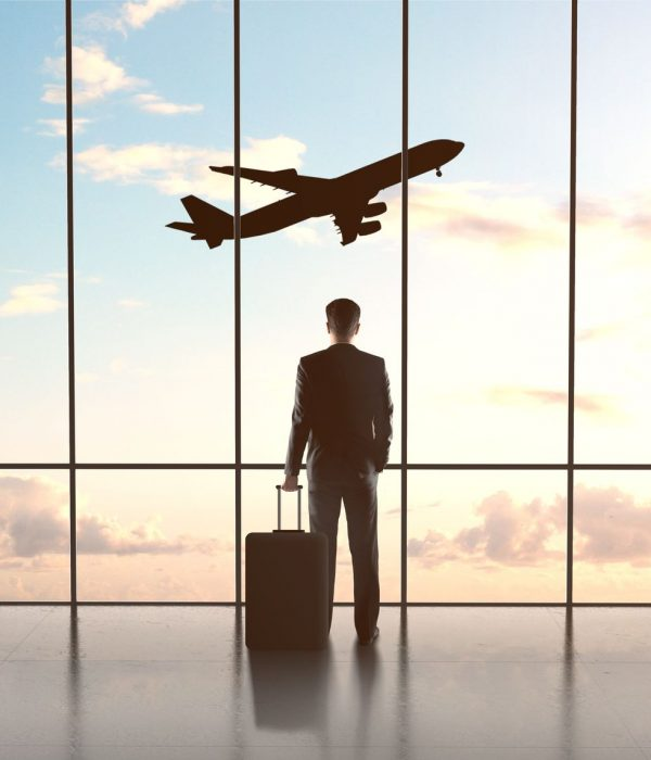 21349532 - businessman in airport with luggage and looking in airplane